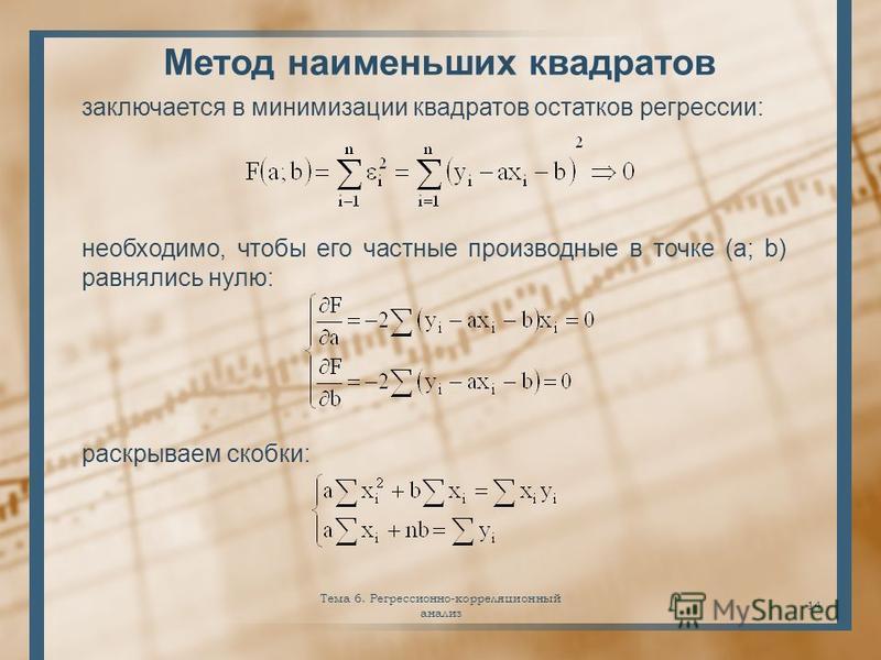 Тема 6. Регрессионно-корреляционный анализ 14 Метод наименьших квадратов заключается в минимизации квадратов остатков регрессии: необходимо, чтобы его частные производные в точке (a; b) равнялись нулю: раскрываем скобки: