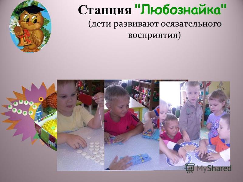 Станция Любознайка (дети развивают осязательного восприятия)
