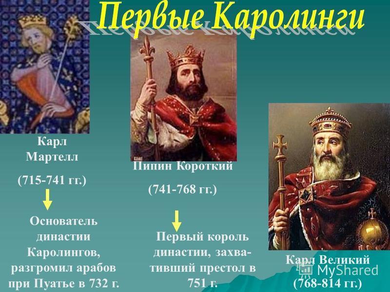 Карл Мартелл (715-741 гг.) Пипин Короткий (741-768 гг.) Карл Великий (768-814 гг.) Основатель династии Каролингов, разгромил арабов при Пуатье в 732 г. Первый король династии, захвативший престол в 751 г.