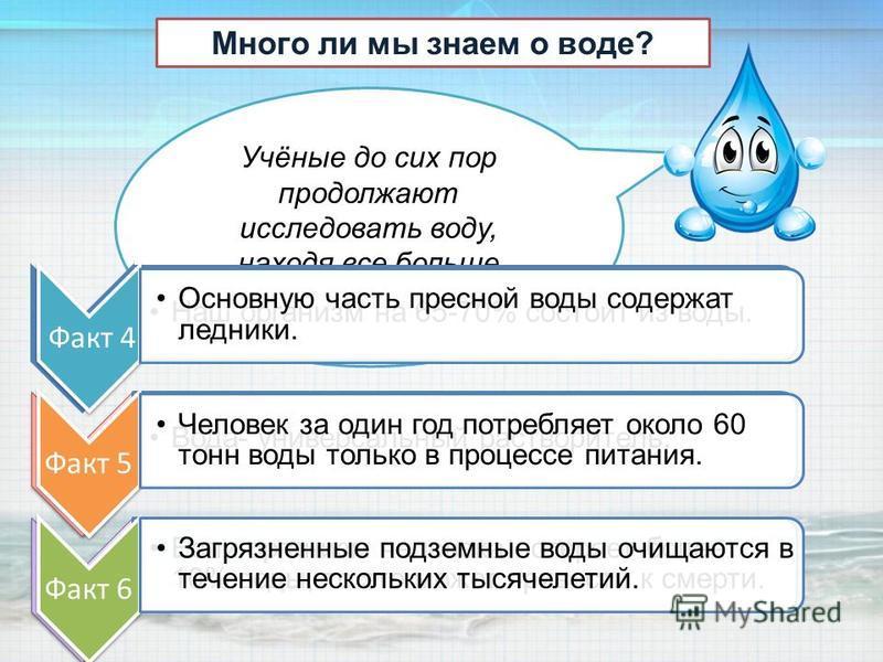 Учёные до сих пор продолжают исследовать воду, находя все больше интересных фактов. Много ли мы знаем о воде? Факт 1 Наш организм на 65-70% состоит из воды. Факт 2 Вода- универсальный растворитель. Факт 3 Если организм человека потеряет более 10% вод