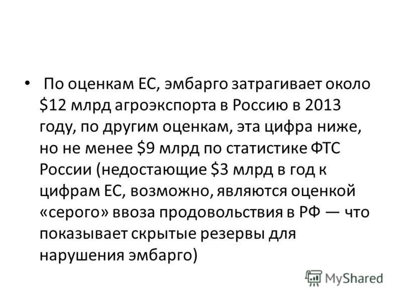 По оценкам ЕС, эмбарго затрагивает около $12 млрд агроэкспорта в Россию в 2013 году, по другим оценкам, эта цифра ниже, но не менее $9 млрд по статистике ФТС России (недостающие $3 млрд в год к цифрам ЕС, возможно, являются оценкой «серого» ввоза про