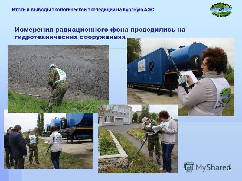 Измерения радиационного фона проводились на гидротехнических сооружениях 5 Итоги и выводы экологической экспедиции на Курскую АЭС