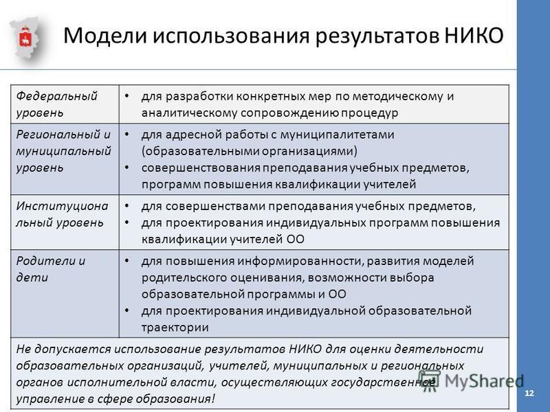 Модели использования результатов НИКО Федеральный уровень для разработки конкретных мер по методическому и аналитическому сопровождению процедур Региональный и муниципальный уровень для адресной работы с муниципалитетами (образовательными организация