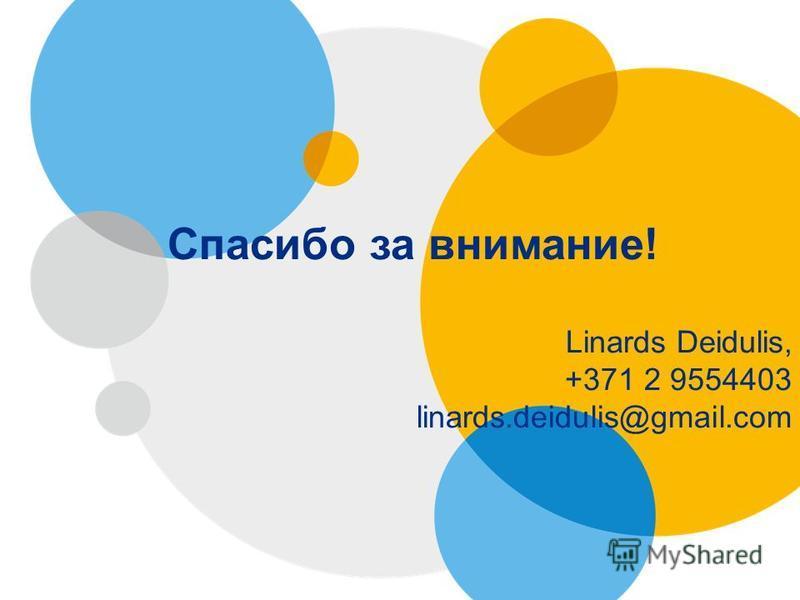 Спасибо за внимание! Linards Deidulis, +371 2 9554403 linards.deidulis@gmail.com