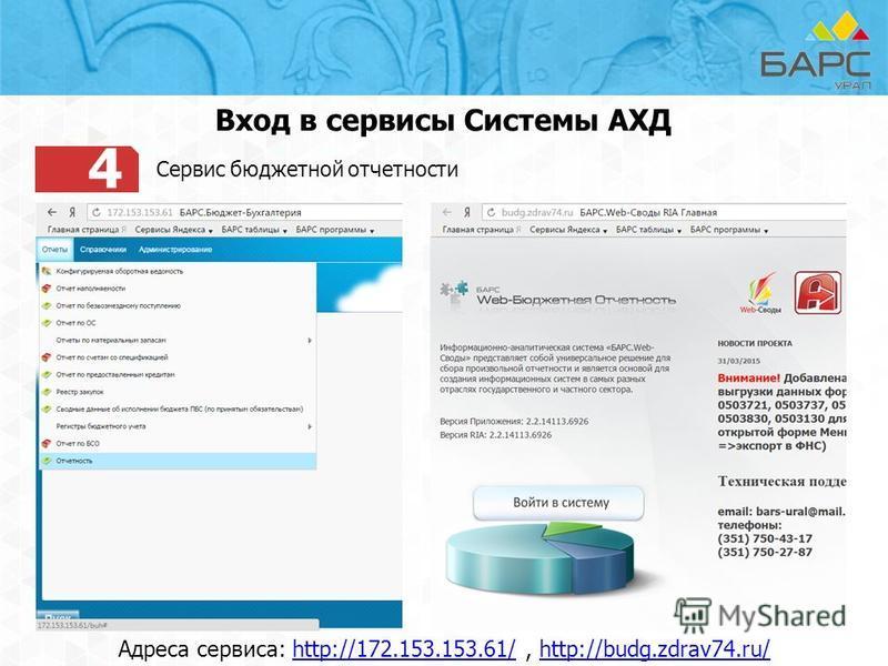 4 Сервис бюджетной отчетности Вход в сервисы Системы АХД Адреса сервиса: http://172.153.153.61/, http://budg.zdrav74.ru/http://172.153.153.61/http://budg.zdrav74.ru/