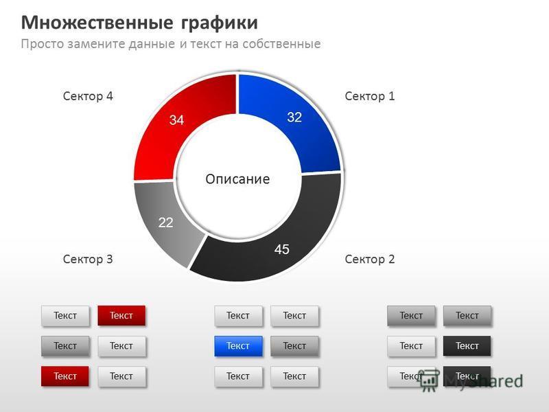 Slide GO.ru Множественные графики Просто замените данные и текст на собственные Текст Сектор 1 Сектор 2Сектор 3 Сектор 4 Описание