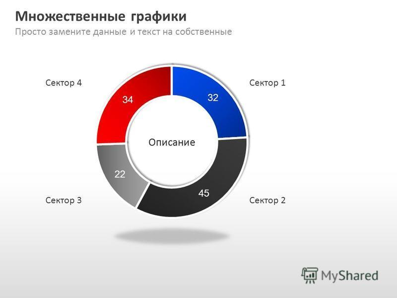 Slide GO.ru Множественные графики Просто замените данные и текст на собственные Сектор 1 Сектор 2Сектор 3 Сектор 4 Описание