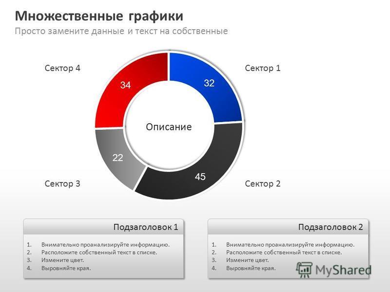 Slide GO.ru Множественные графики Просто замените данные и текст на собственные Подзаголовок 1 1. Внимательно проанализируйте информацию. 2. Расположите собственный текст в списке. 3. Измените цвет. 4. Выровняйте края. 1. Внимательно проанализируйте