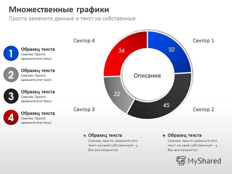 Slide GO.ru Множественные графики Просто замените данные и текст на собственные 1 Образец текста Смелее. Просто замените этот текст. 2 3 4 Образец текста Смелее, просто замените этот текст на свой собственный – у Вас все получится. Образец текста Сме
