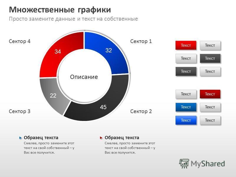 Slide GO.ru Множественные графики Просто замените данные и текст на собственные Текст Образец текста Смелее, просто замените этот текст на свой собственный – у Вас все получится. Образец текста Смелее, просто замените этот текст на свой собственный –
