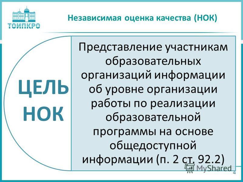 Независимая оценка качества (НОК) 4 Представление участникам образовательных организаций информации об уровне организации работы по реализации образовательной программы на основе общедоступной информации (п. 2 ст. 92.2) ЦЕЛЬ НОК