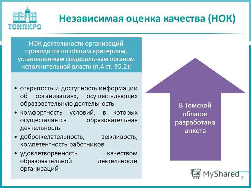 Независимая оценка качества (НОК) 7 НОК деятельности организаций проводится по общим критериям, установленным федеральным органом исполнительной власти (п.4 ст. 95.2): открытость и доступность информации об организациях, осуществляющих образовательну