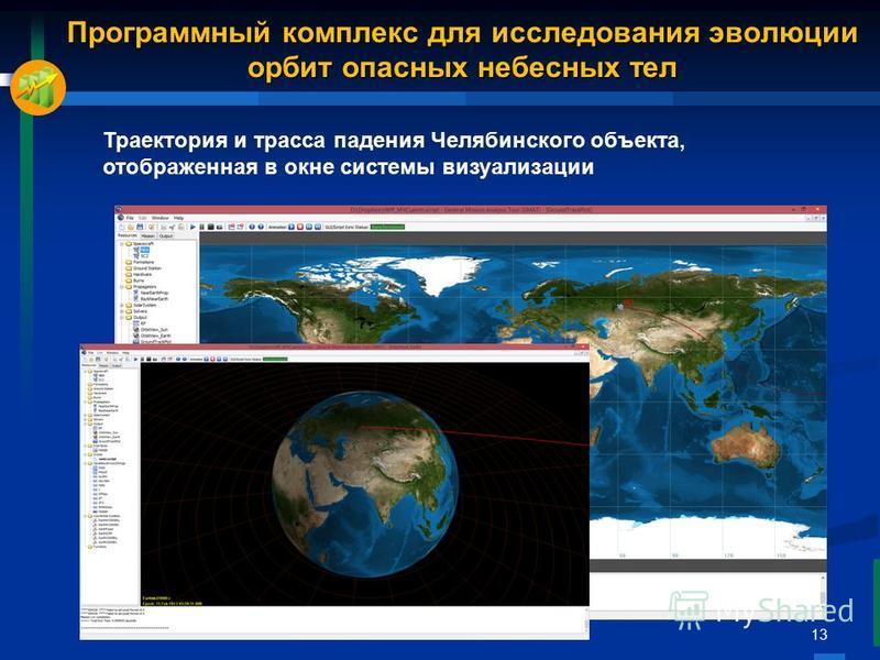 13 Траектория и трасса падения Челябинского объекта, отображенная в окне системы визуализации Программный комплекс для исследования эволюции орбит опасных небесных тел