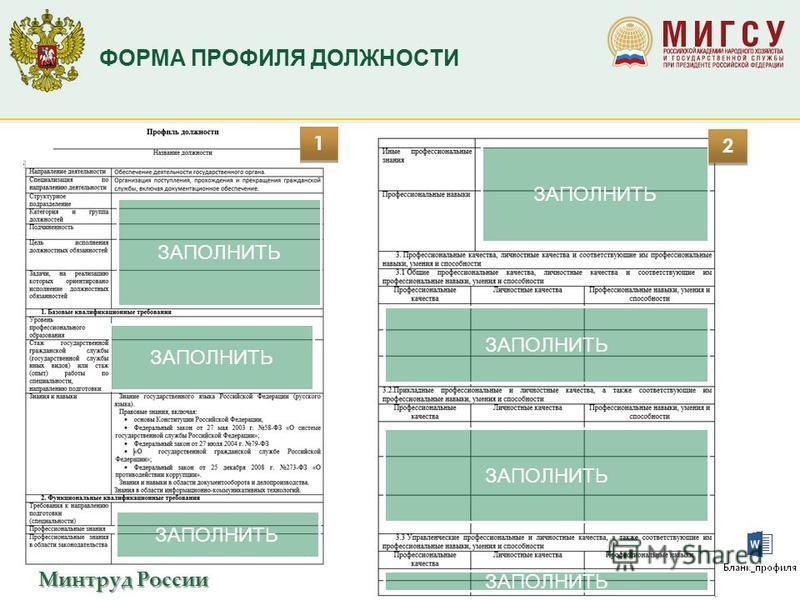 Минтруд России ФОРМА ПРОФИЛЯ ДОЛЖНОСТИ ЗАПОЛНИТЬ 1 1 2 2