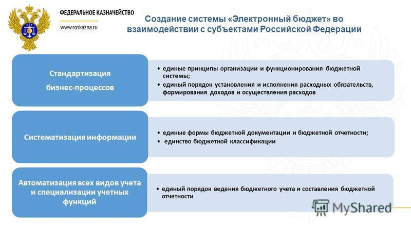 Создание системы «Электронный бюджет» во взаимодействии с субъектами Российской Федерации единые принципы организации и функционирования бюджетной системы; единый порядок установления и исполнения расходных обязательств, формирования доходов и осущес