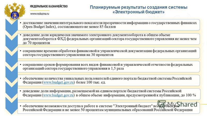 Планируемые результаты создания системы «Электронный бюджет» доведение доли информации, размещаемой на едином портале бюджетной системы Российской Федерации (www.budget.gov.ru) в общем объеме информации, предусмотренной к публикации, до 100 %www.budg