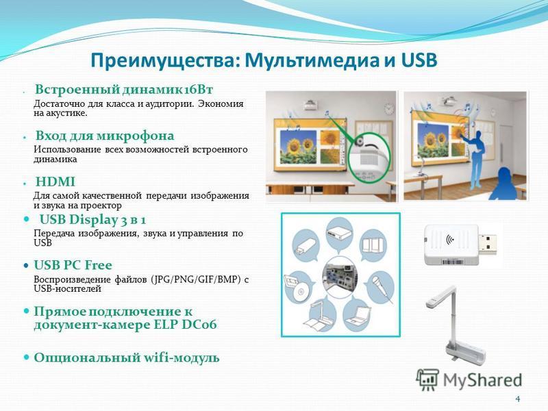 Преимущества: Мультимедиа и USB Встроенный динамик 16Вт Достаточно для класса и аудитории. Экономия на акустике. Вход для микрофона Использование всех возможностей встроенного динамика HDMI Для самой качественной передачи изображения и звука на проек