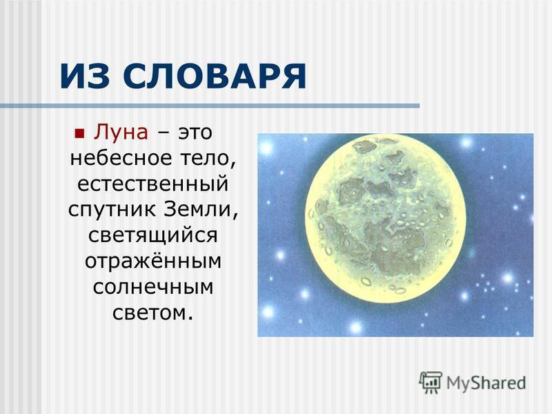 ИЗ СЛОВАРЯ Луна – это небесное тело, естественный спутник Земли, светящийся отражённым солнечным светом.