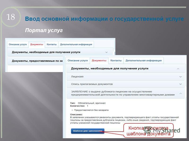 Ввод основной информации о государственной услуге Портал услуг 18 Кнопка просмотра шаблона документа