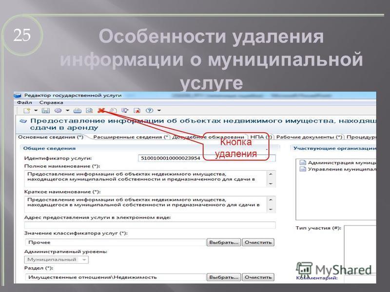 25 Особенности удаления информации о муниципальной услуге Кнопка удаления