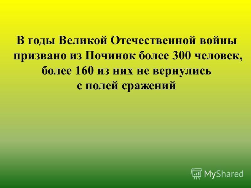 В годы Великой Отечественной войны призвано из Починок более 300 человек, более 160 из них не вернулись с полей сражений