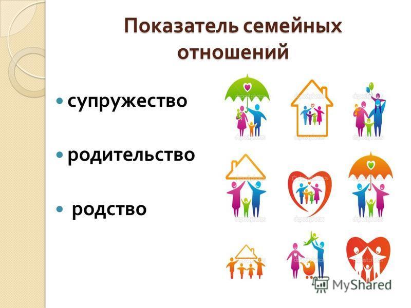 Показатель семейных отношений супружество родительство родство