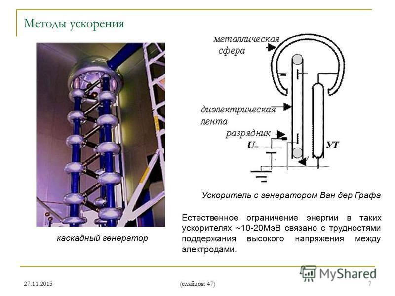 27.11.2015 (слайдов: 47) 7 каскадный генератор Естественное ограничение энергии в таких ускорителях ~10-20МэВ связано с трудностями поддержания высокого напряжения между электродами. Ускоритель с генератором Ван дер Графа Методы ускорения