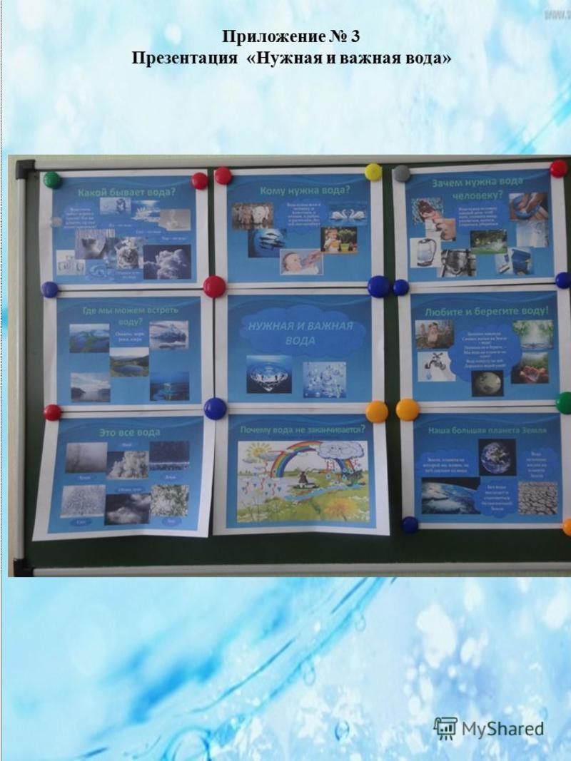 Приложение 3 Презентация «Нужная и важная вода»