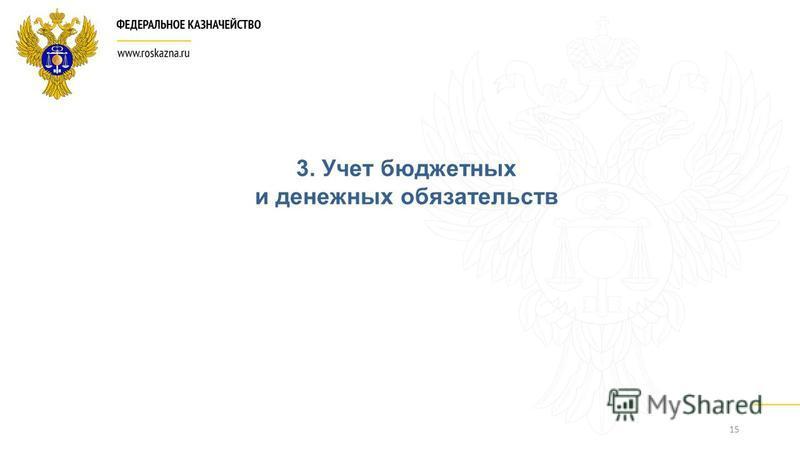 15 3. Учет бюджетных и денежных обязательств