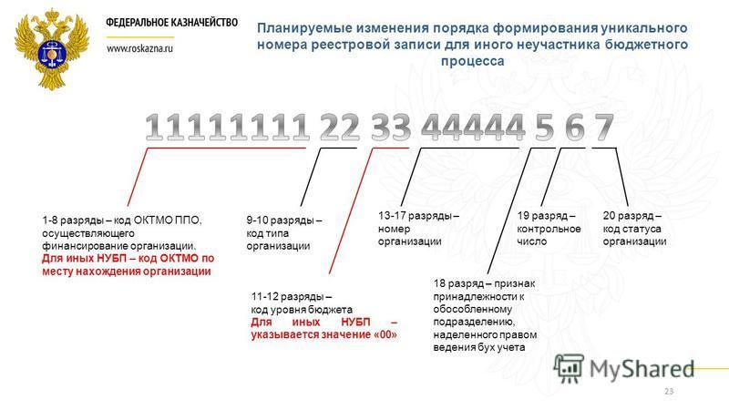 23 1-8 разряды – код ОКТМО ППО, осуществляющего финансирование организации. Для иных НУБП – код ОКТМО по месту нахождения организации 9-10 разряды – код типа организации 11-12 разряды – код уровня бюджета Для иных НУБП – указывается значение «00» 13-