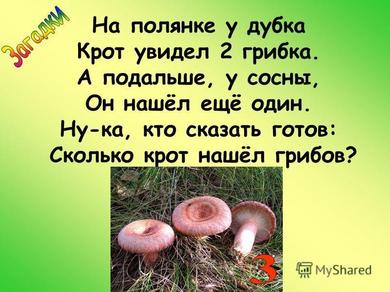 На полянке у дубка Крот увидел 2 грибка. А подальше, у сосны, Он нашёл ещё один. Ну-ка, кто сказать готов: Сколько крот нашёл грибов?