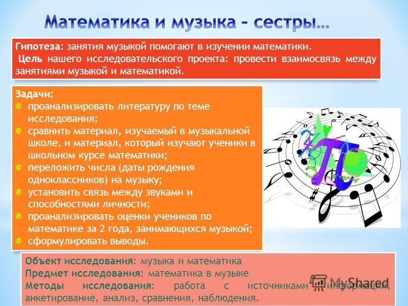 Гипотеза: занятия музыкой помогают в изучении математики. Цель нашего исследовательского проекта: провести взаимосвязь между занятиями музыкой и математикой. Задачи: проанализировать литературу по теме исследования; сравнить материал, изучаемый в муз