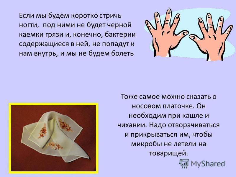 Если мы будем коротко стричь ногти, под ними не будет черной каемки грязи и, конечно, бактерии содержащиеся в ней, не попадут к нам внутрь, и мы не будем болеть Тоже самое можно сказать о носовом платочке. Он необходим при кашле и чихании. Надо отвор