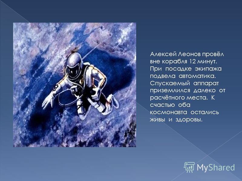 Алексей Леонов провёл вне корабля 12 минут. При посадке экипажа подвела автоматика. Спускаемый аппарат приземлился далеко от расчётного места. К счастью оба космонавта остались живы и здоровы.