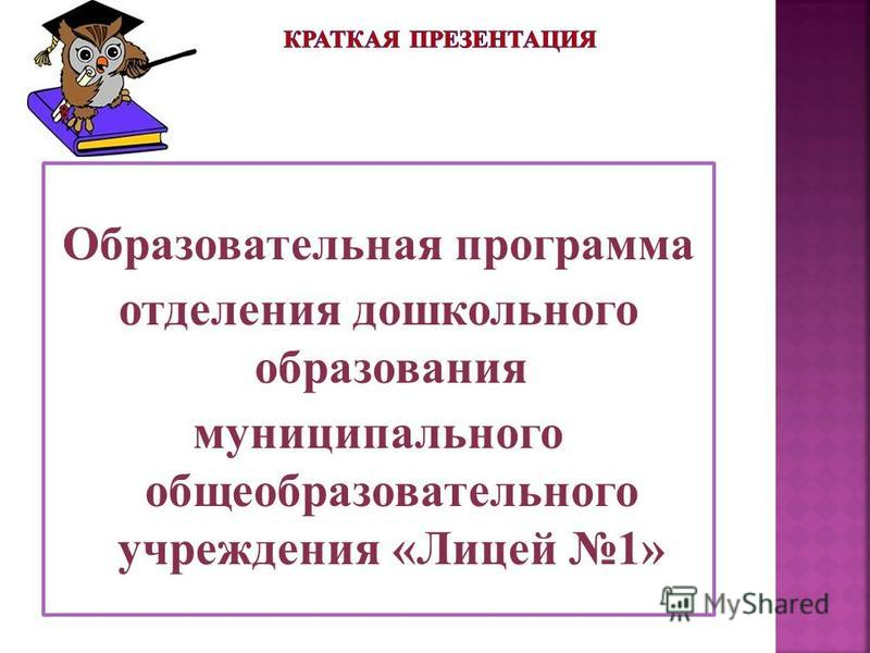 Образовательная программа отделения дошкольного образования муниципального общеобразовательного учреждения «Лицей 1»