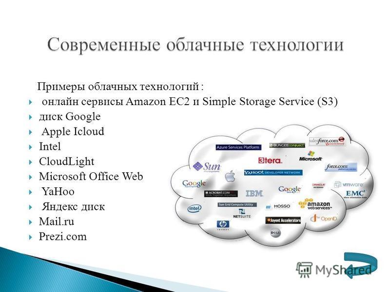Примеры облачных технологий : онлайн сервисы Amazon EC2 и Simple Storage Service (S3) диск Google Apple Iсloud Intel CloudLight Microsoft Office Web YaHoo Яндекс диск Mail.ru Prezi.com