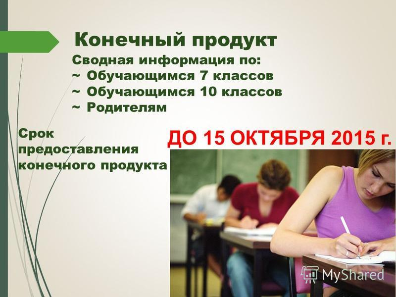 Конечный продукт Сводная информация по: ~Обучающимся 7 классов ~Обучающимся 10 классов ~Родителям Срок предоставления конечного продукта ДО 15 ОКТЯБРЯ 2015 г.