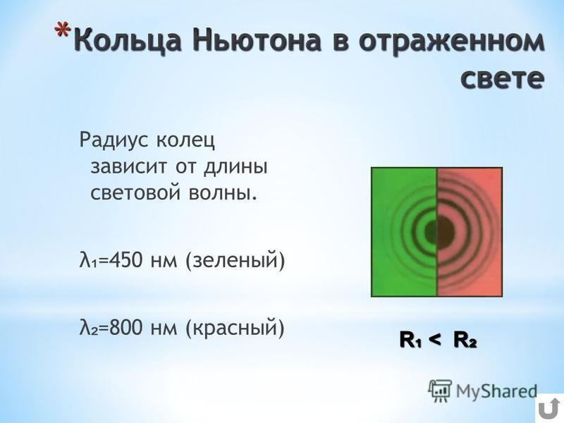 Радиус колец зависит от длины световой волны. λ =450 нм (зеленый) λ =800 нм (красный) R < R R < R