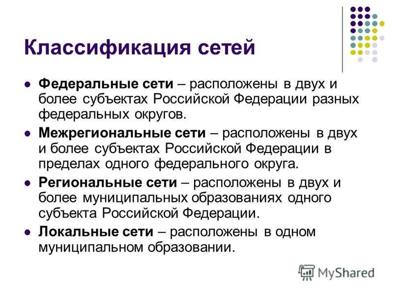 Классификация сетей Федеральные сети – расположены в двух и более субъектах Российской Федерации разных федеральных округов. Межрегиональные сети – расположены в двух и более субъектах Российской Федерации в пределах одного федерального округа. Регио