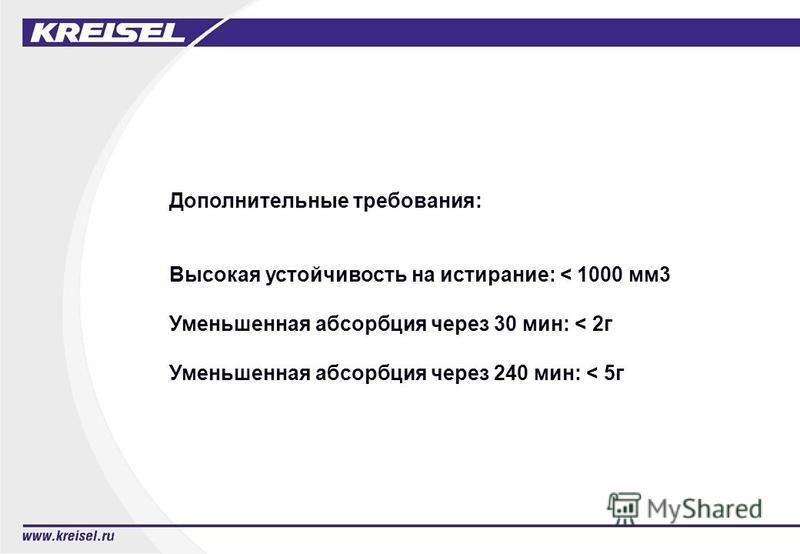 Дополнительные требования: Высокая устойчивость на истирание: < 1000 мм 3 Уменьшенная абсорбция через 30 мин: < 2 г Уменьшенная абсорбция через 240 мин: < 5 г
