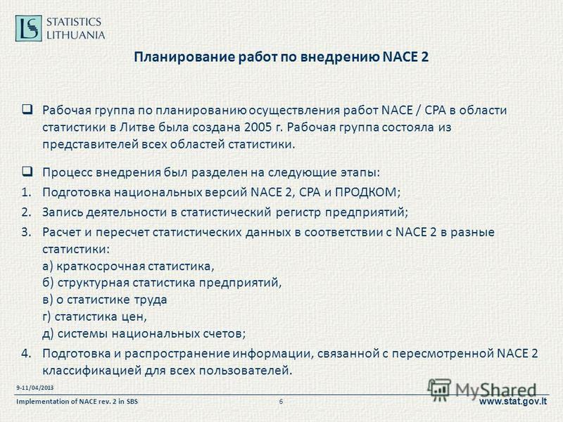www.stat.gov.lt Планирование работ по внедрению NACE 2 Рабочая группа по планированию осуществления работ NACE / CPA в области статистики в Литве была создана 2005 г. Рабочая группа состояла из представителей всех областей статистики. Процесс внедрен