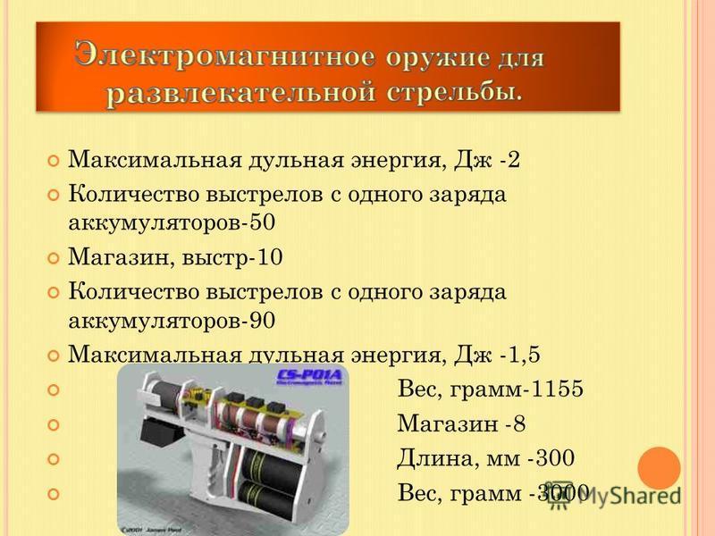 Максимальная дульная энергия, Дж -2 Количество выстрелов с одного заряда аккумуляторов-50 Магазин, выстр-10 Количество выстрелов с одного заряда аккумуляторов-90 Максимальная дульная энергия, Дж -1,5 Вес, грамм-1155 Магазин -8 Длина, мм -300 Вес, гра