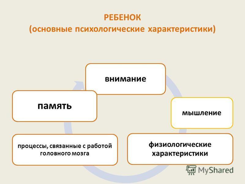 РЕБЕНОК (основные психологические характеристики) внимание мышление физиологические характеристики процессы, связанные с работой головного мозга память