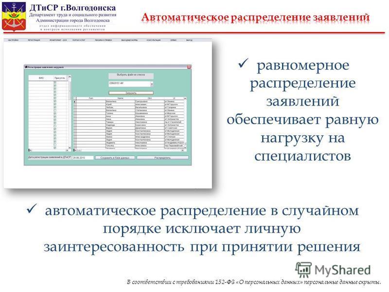 В соответствии с требованиями 152-ФЗ «О персональных данных» персональные данные скрыты. равномерное распределение заявлений обеспечивает равную нагрузку на специалистов автоматическое распределение в случайном порядке исключает личную заинтересованн