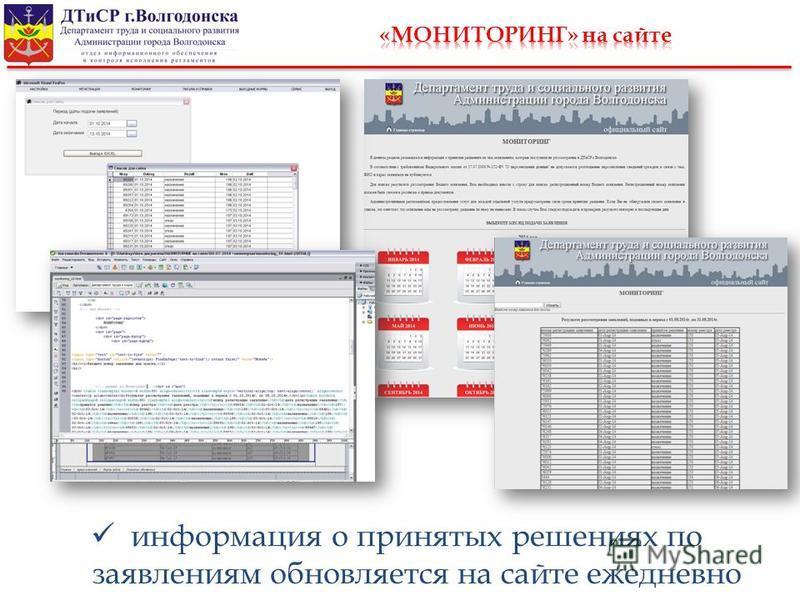 информация о принятых решениях по заявлениям обновляется на сайте ежедневно