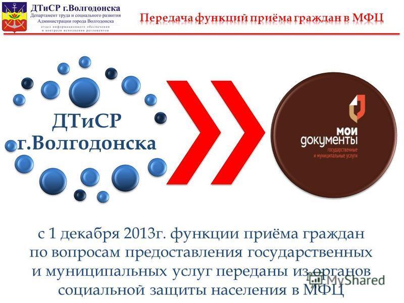 ДТиСР г.Волгодонска с 1 декабря 2013 г. функции приёма граждан по вопросам предоставления государственных и муниципальных услуг переданы из органов социальной защиты населения в МФЦ