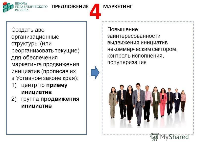 Создать две организационные структуры (или реорганизовать текущие) для обеспечения маркетинга продвижения инициатив (прописав их в Уставном законе края): 1)центр по приему инициатив 2)группа продвижения инициатив Повышение заинтересованности выдвижен