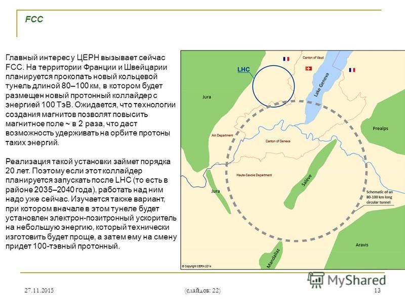 27.11.201513 FCC Главный интерес у ЦЕРН вызывает сейчас FCC. На территории Франции и Швейцарии планируется прокопать новый кольцевой туннель длиной 80–100 км, в котором будет размещен новый протонный коллайдер с энергией 100 ТэВ. Ожидается, что техно