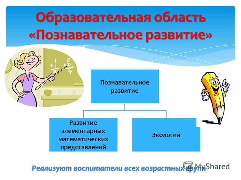 Образовательная область «Познавательное развитие» Познавательное развитие Развитие элементарных математических представлений Экология Реализуют воспитатели всех возрастных групп
