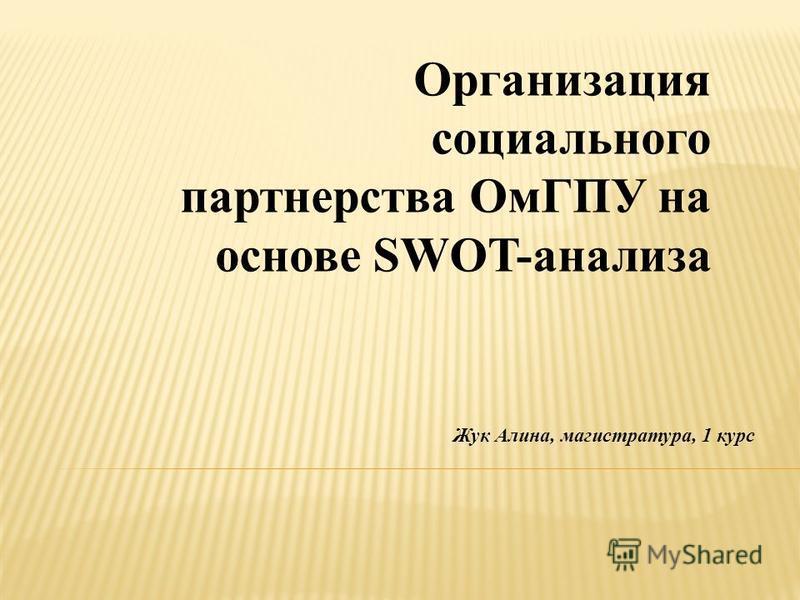 Организация социального партнерства ОмГПУ на основе SWOT-анализа Жук Алина, магистратура, 1 курс